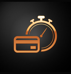 Gold fast payments icon isolated on black vector