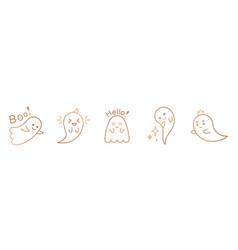 halloween ghost line art cute ghost vector image