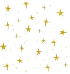 Hand drawn golden stars seamless pattern vector image