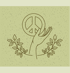 hands with world peace symbol vector image