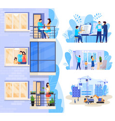 happy family in modern apartment new house vector image