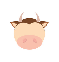 head cute cow animal image vector image
