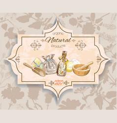 Herbal vintage banner vector