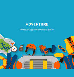 horizontal banner equipment for outdoor activities vector image