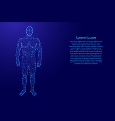 human body from futuristic polygonal blue lines vector image