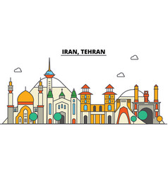 Iran tehran city skyline architecture buildings vector