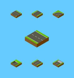 Isometric road set of plane single-lane subway vector