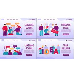 Language school online class teambuilding set vector