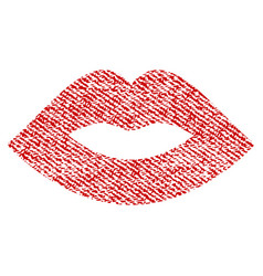 lips fabric textured icon vector image