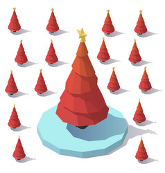 lowpoly christmas red tree vector image