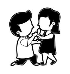 Man kneeling to woman couple cute icon image vector