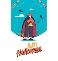 man wearing dracula costume happy halloween party vector image
