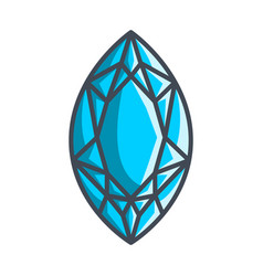 Marquis diamond in a flat style vector
