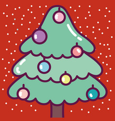 merry christmas celebration cute pine tree with vector image