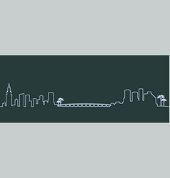 miami single line skyline vector image