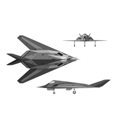 Military aircraft F-117 War plane in three views vector