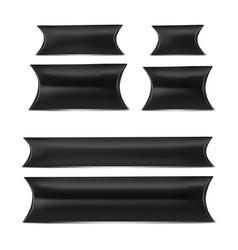 Mock up black set pillow box vector