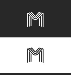 Monogram letter m logo black and white smooth vector