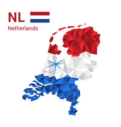 netherlands flag map in polygonal geometric style vector image