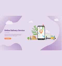 online delivery service concept with apps mobile vector image