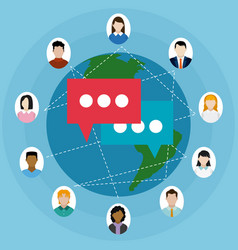 people chatting around the world vector image