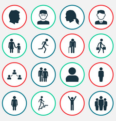 people icons set collection of work man group vector image