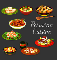 Peruvian cuisine dishes with meat and seafood vector