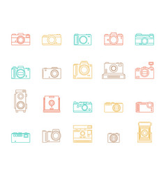 photo camera signs color thin line icon set vector image