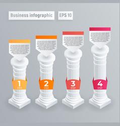 Pillar infographic isometric style vector