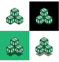 Pyramid of the cubes with dollar logo in isometric vector