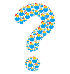 question shape of hatch chick icons vector image