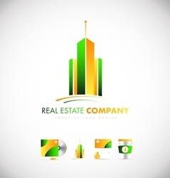 Real estate skyscraper building logo icon vector