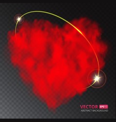 Red heart of fog or smoke with ray of light vector