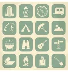 Retro camping icons set icons vector