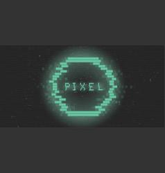 Retrofuturistic cyberpunk glitch pixel circle vector