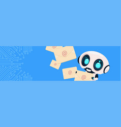 Robot holding envelopes email letters chatter bot vector