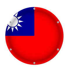 Round metallic flag of taiwan with screws vector