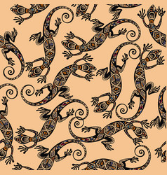 seamless pattern with lizard vector image