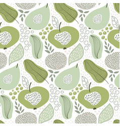 Seamless summer pattern with fruits and flowers vector