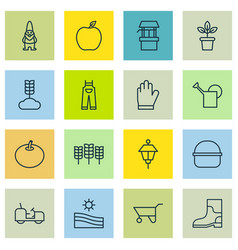 Set of 16 farm icons includes dwarf garden vector
