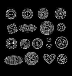 set of cloth buttons in different designs in boho vector image