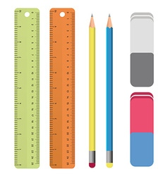 Set of stationery tools outlines ruler pencil vector image