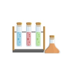 Set Of Three Test Tubes For Chemical Experiments vector image
