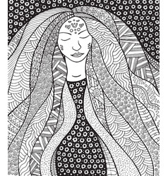 Shaman hippie girl with ornate hair allegory vector