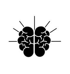 Silhouette mental health smart brain line icon vector