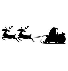 Silhouette santa flying on reindeer sleigh image vector