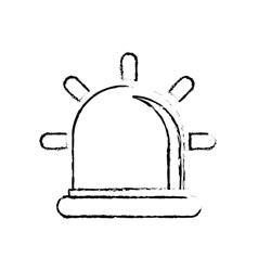 silhouette siren police car icon vector image