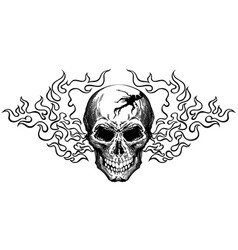 Skull in tongues flame black and white vector