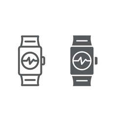 smart watch line and glyph icon clock and digital vector image
