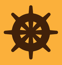 steering wheel icon brown on yellow background vector image